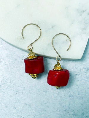 Red Bamboo Coral Gold Earrings