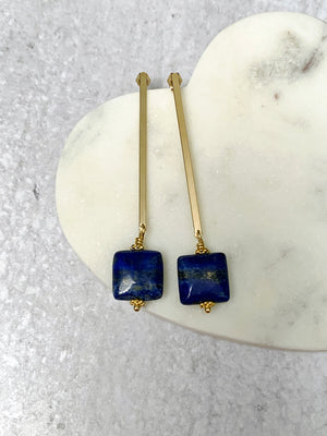 Lapis Lazuli Gold Bar Dangle Earrings