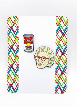 Andy Warhol and Soup Can Enamel Pin