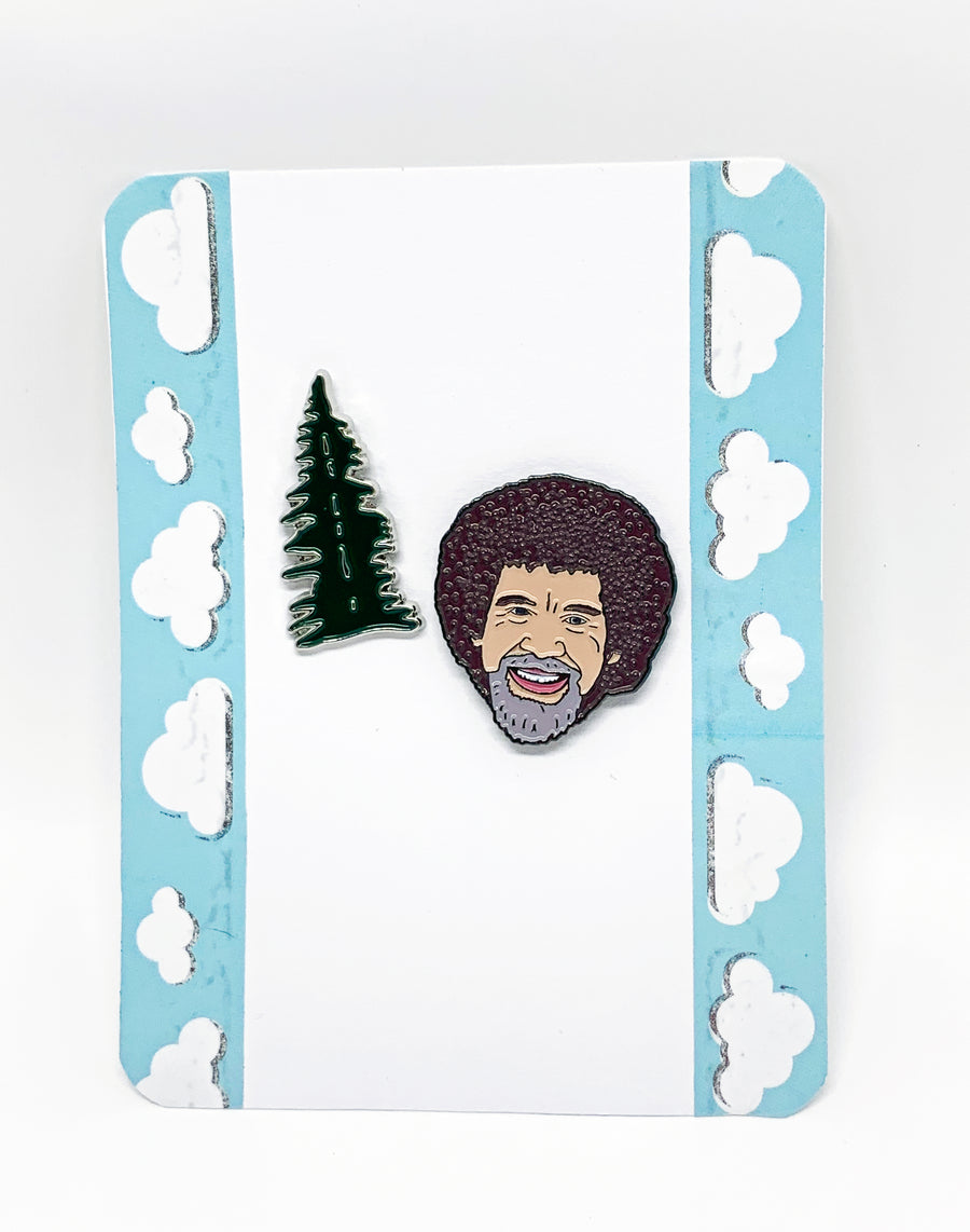 Bob Ross and the Happy Little Tree Enamel Pin