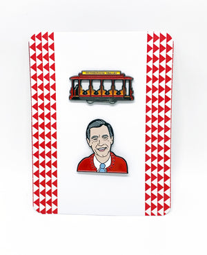 Mister Rogers and Trolly Car Enamel Pin