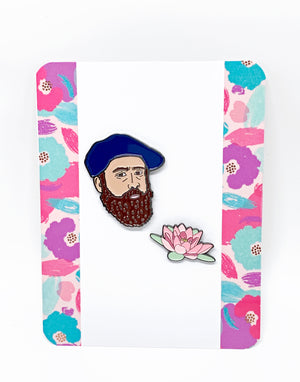 Claude Monet and Water Lily Enamel Pin