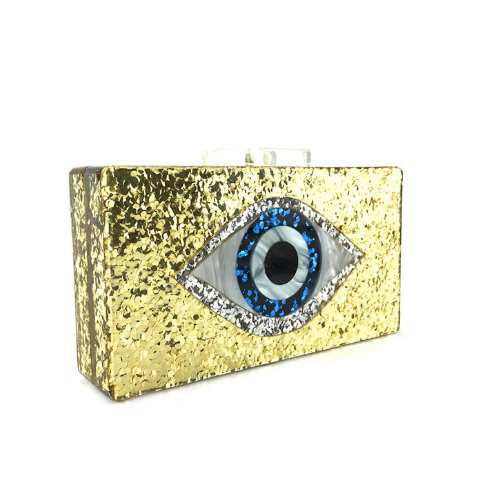 Evil Eye Gold Acrylic Clutch