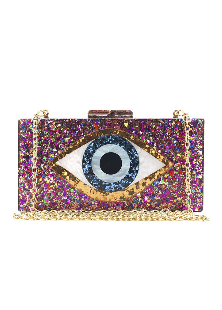 Evil Eye Multicolored Acrylic Clutch