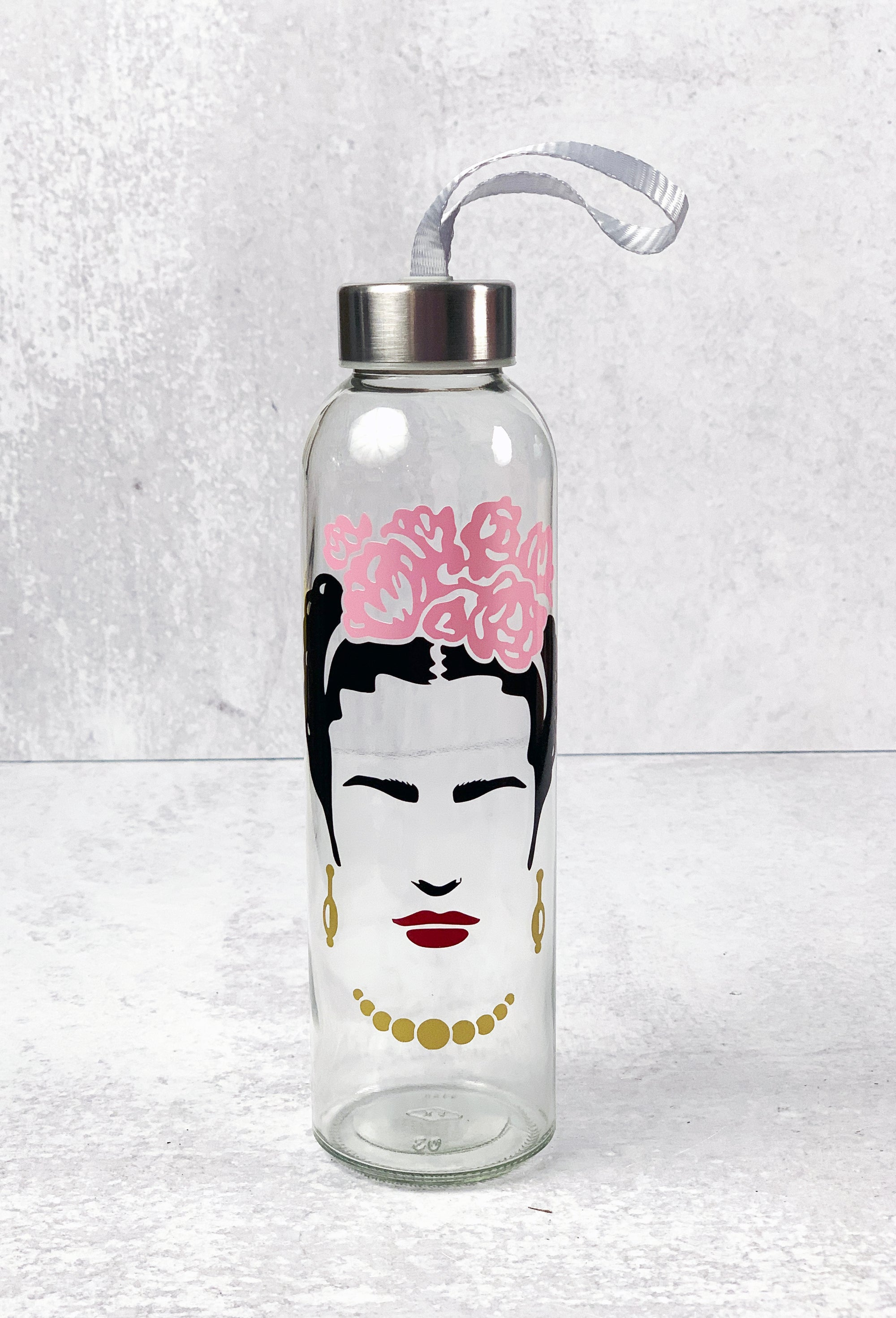 Frida Kahlo Glass Water Bottle Drinkware