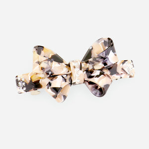 Speckled Bow and Rhinestone Hair Barrette