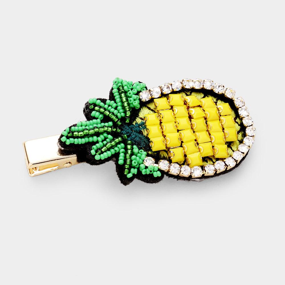 Pineapple Beaded Hair Clip