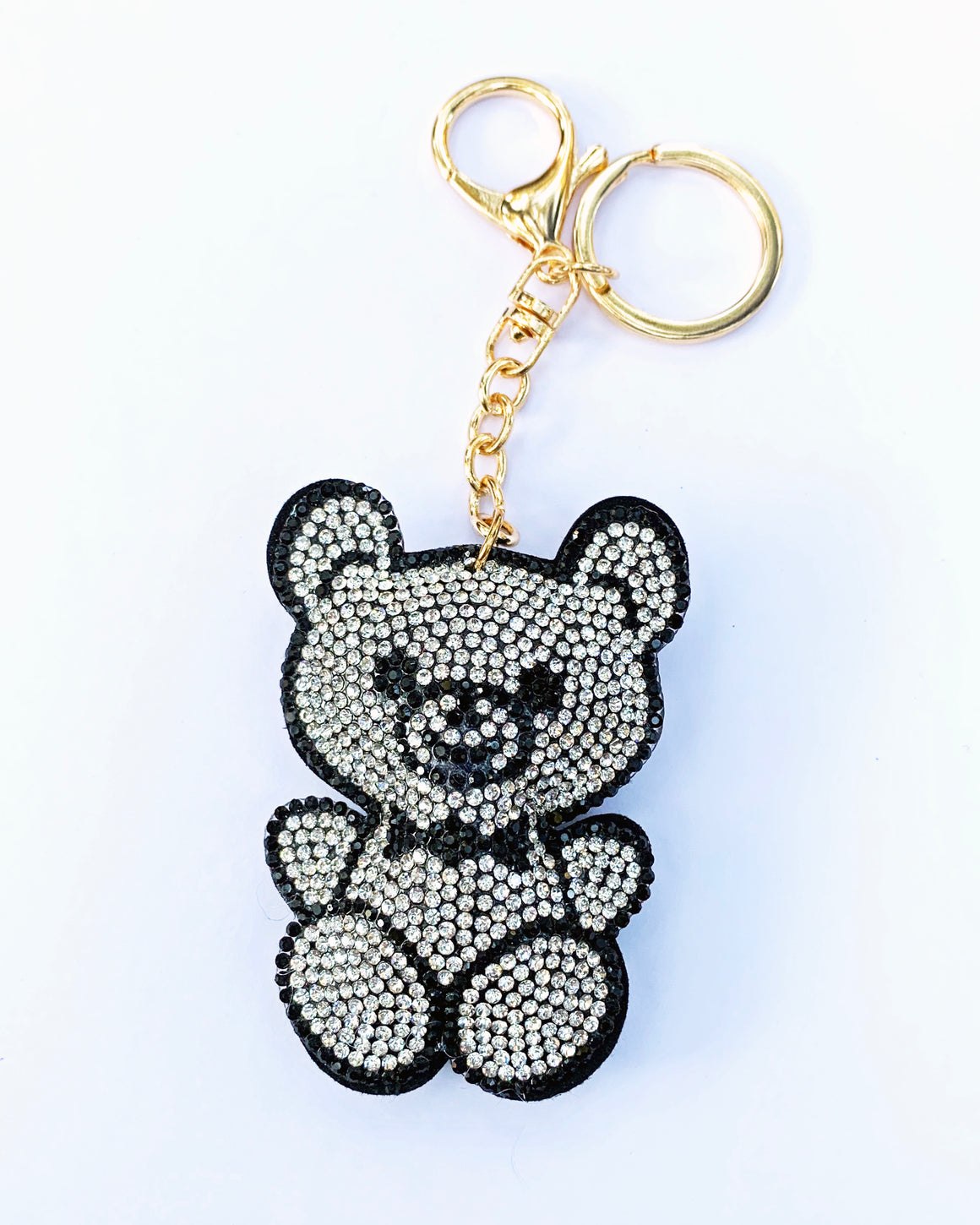 Black and White Teddy Bear Keychain