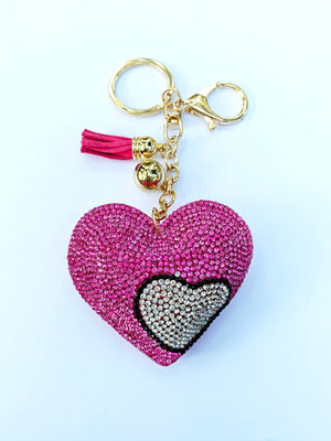 Puffy Double Heart Keychain
