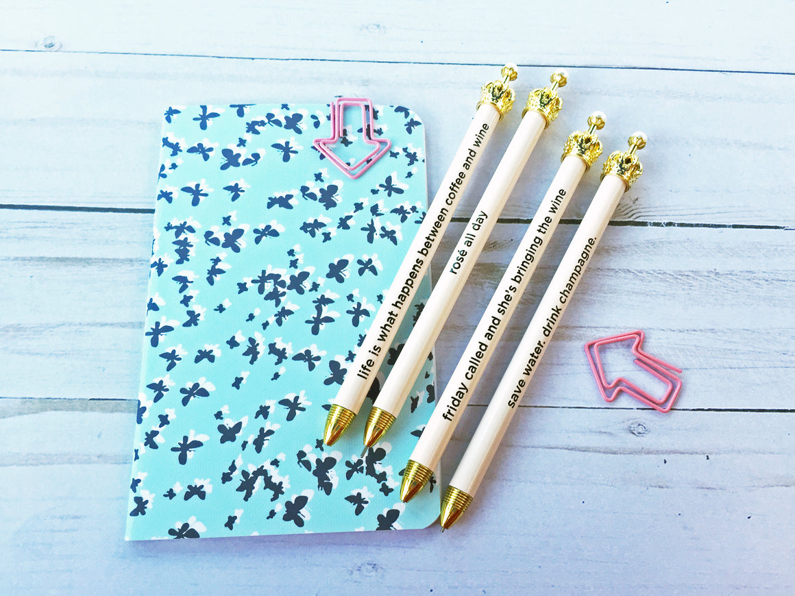 Light Blush Crown Mechanical Pencil with Cute Mantra