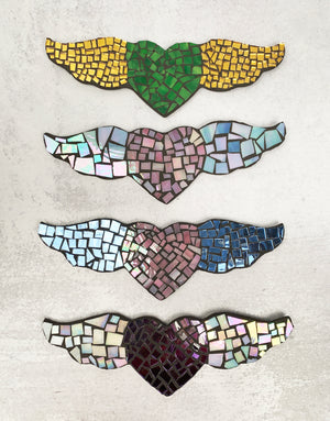 Mosaic Heart with Wings