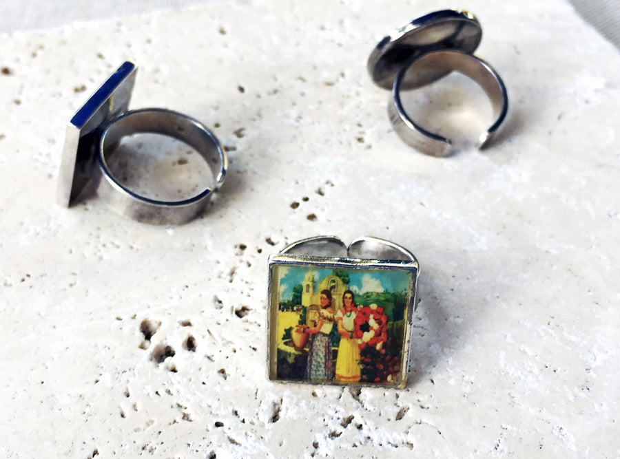 Fiesta of Flowers Sterling Ring