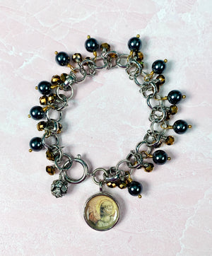 Guardian Angel Hematite Charm Bracelet