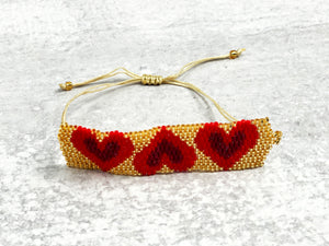 Band of Hearts Glass Seed Bracelet
