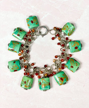 Southwest Inspired Lampwork Glass Charm Bracelet