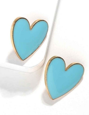 Enamel Heart Post Earrings