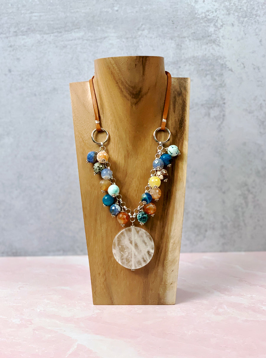 Pops of Agate Leather Necklace