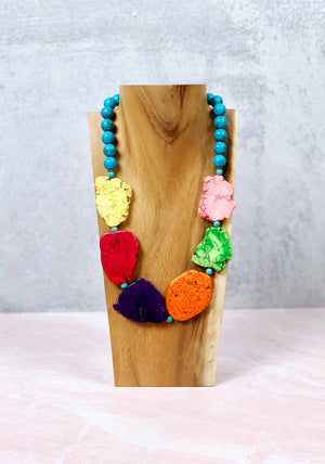 Colorful Stone Slab Necklace