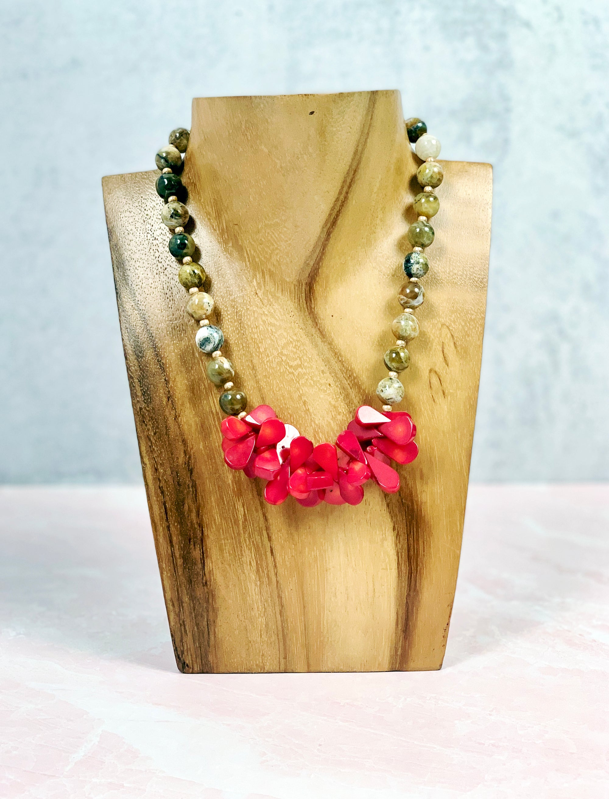 Burst of Red Bamboo Coral Necklace