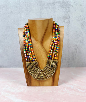 Pop of Color Beaded Scallop Necklace