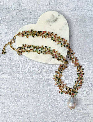 Tourmaline and Baroque Pearl Gold Necklace