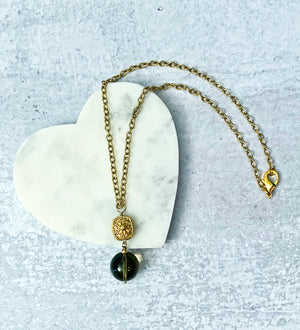 Single Smoky Quartz Drop Gold Necklace