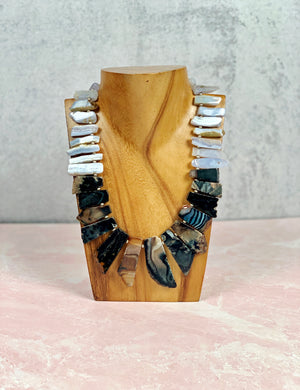 Slices of Agate Bib Necklace