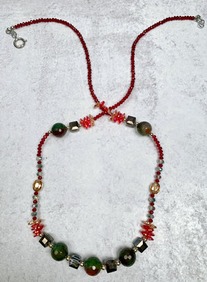 Long Crystal and Agate Mix Necklace
