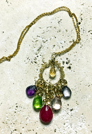 In Bloom Mixed Gemstone Gold Necklace