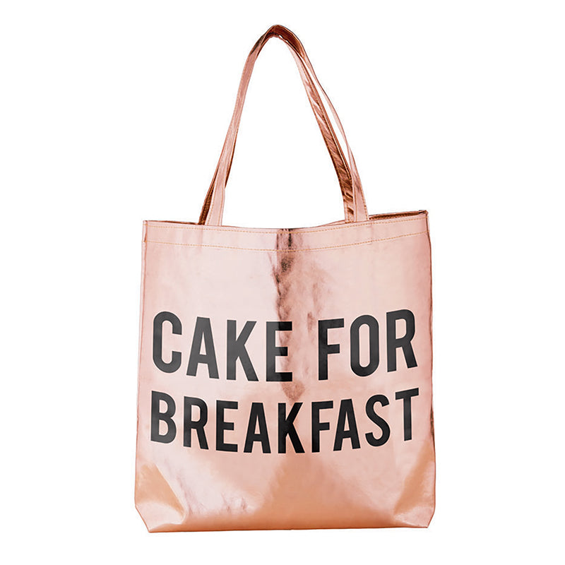 Cake for Breakfast Rose Gold Metallic Tote Bag