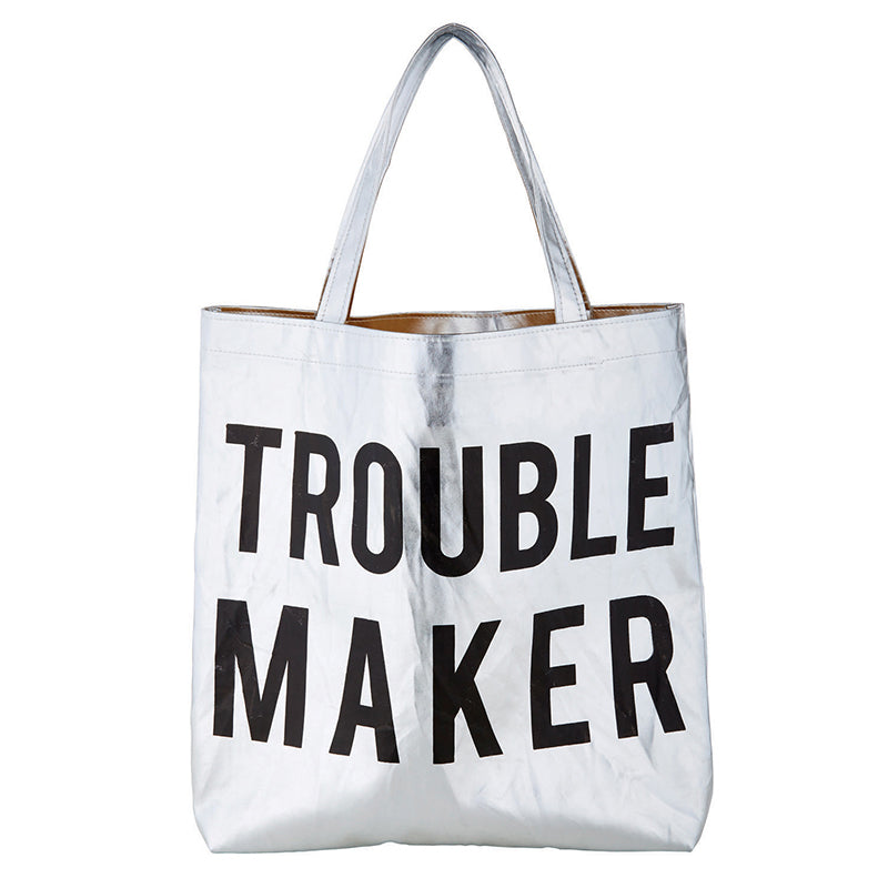 Trouble Maker Platinum Silver Metallic Tote Bag