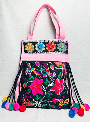Festive Embroidered Tote Bag with Pompoms