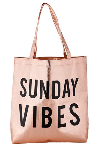 Sunday Vibes Rose Gold Metallic Tote Bag