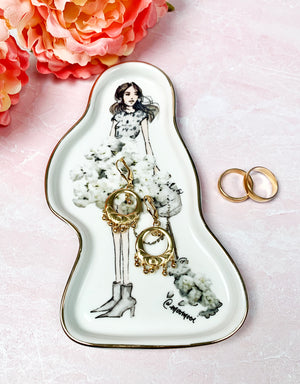 Stylish Girl & Puppy Ceramic Tray