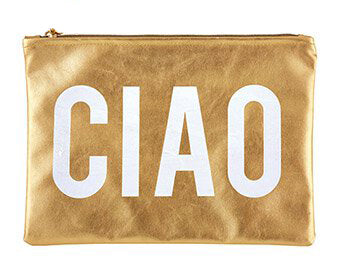 Ciao Metallic Gold Zipper Pouch