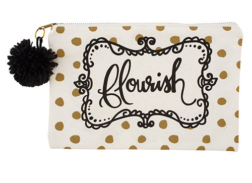 Flourish Canvas Zipper Pouch