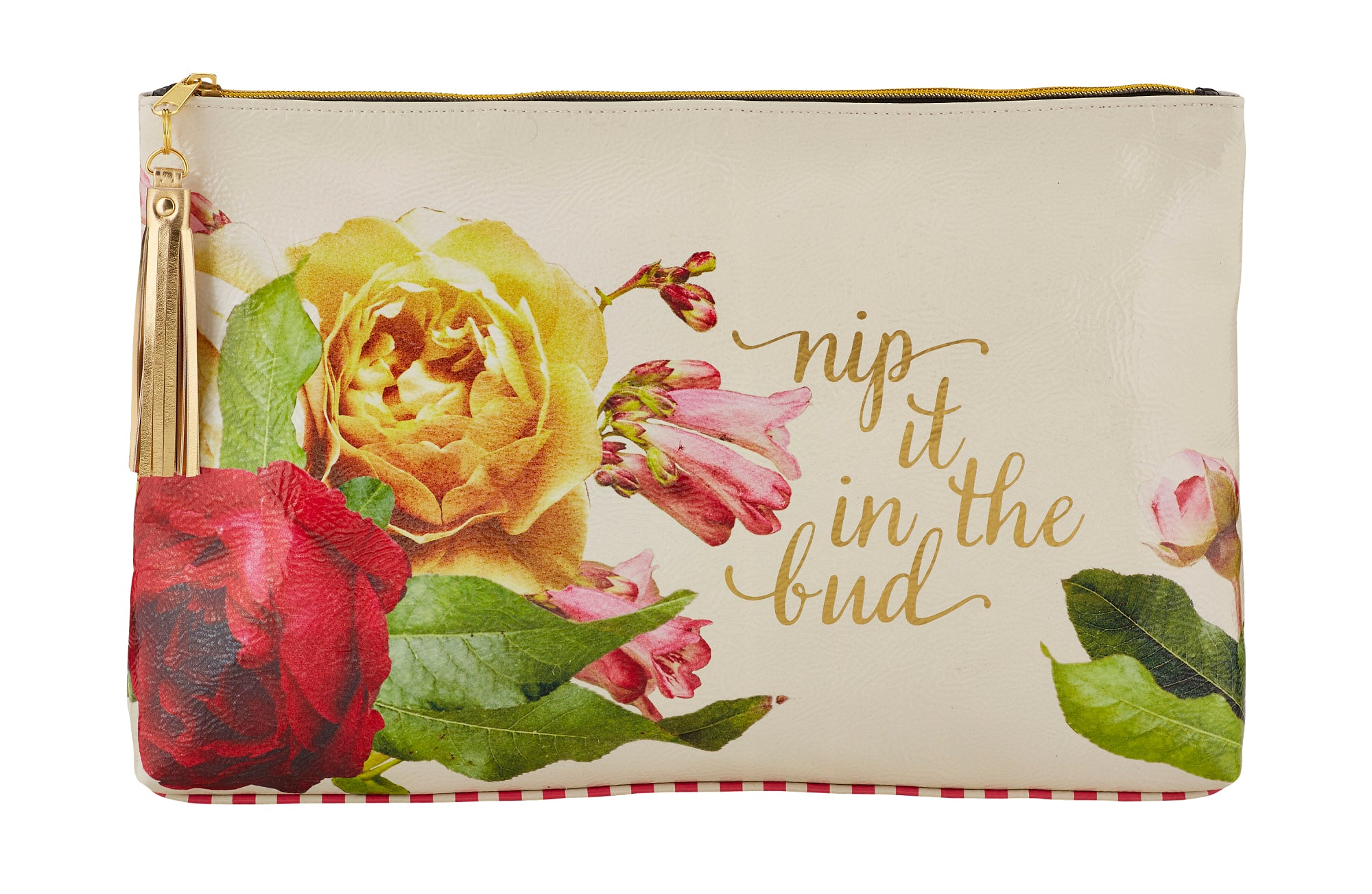 Roses and Stripes Nip it in the Bud Oil Cloth Large Zipper Pouch