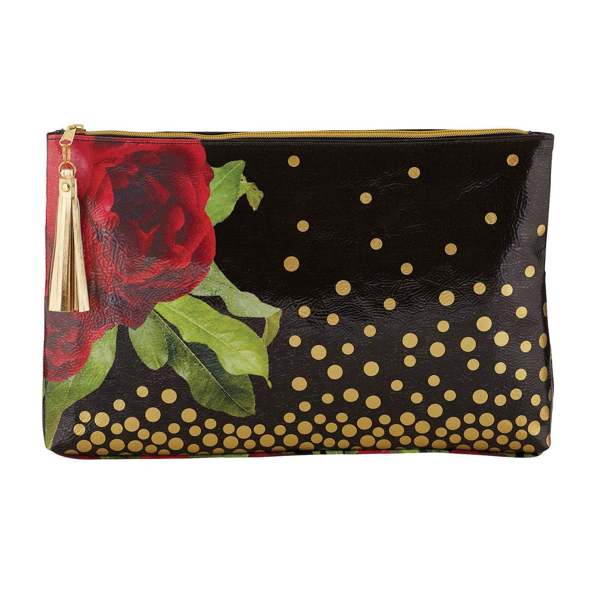 Rose & Gold Polka Dots Oil Cloth Large Zipper Pouch