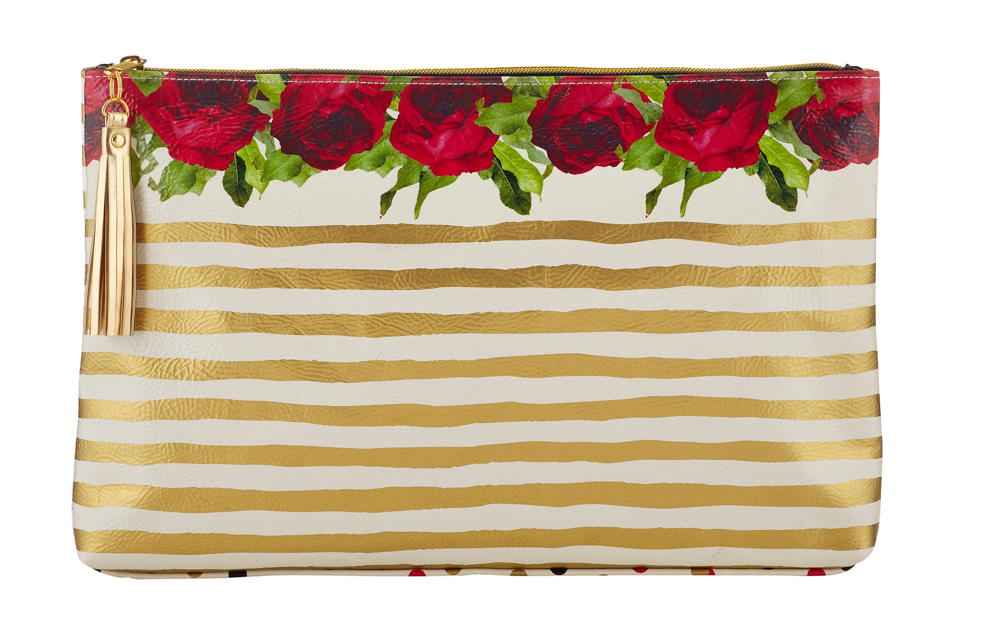 Roses & Gold Stripes Oil Cloth Large Zipper Pouch