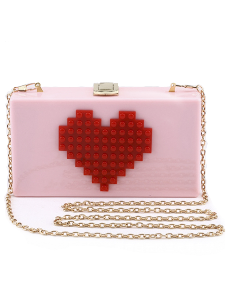 Red Heart Acrylic Clutch