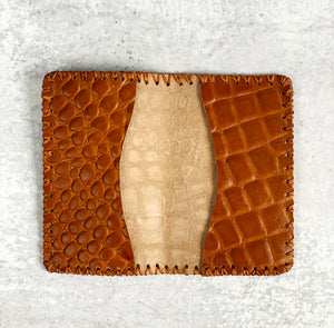 Honey Brown Croc Embossed Leather Wallet