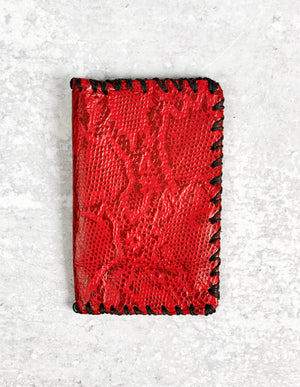 Red Snake Skin Leather Wallet