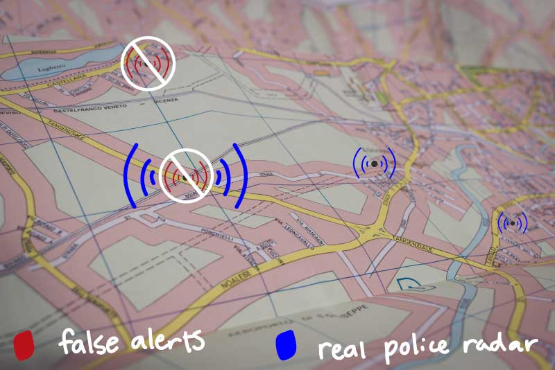A Map of where a user has created a GPS Lockout on a Radenso Radar Detector