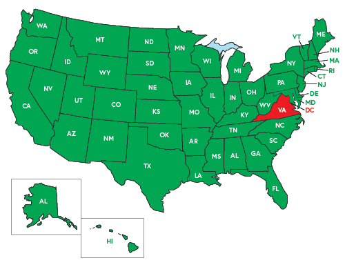 Map of the United States - Virginia is highlighted in RED - Radar Detectors are illegal to use for non commercial drivers.