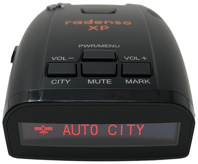Close up of a Radnenso XP Radar Detector - Auto City Mode