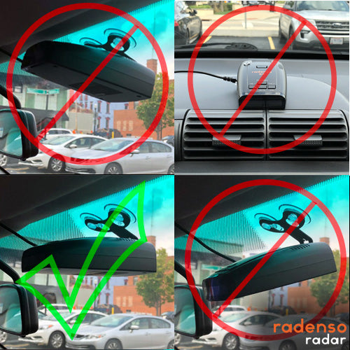 How to properly install your Windshield mounted Radenso Radar Detector - versus three incorrect ways shown in the image.