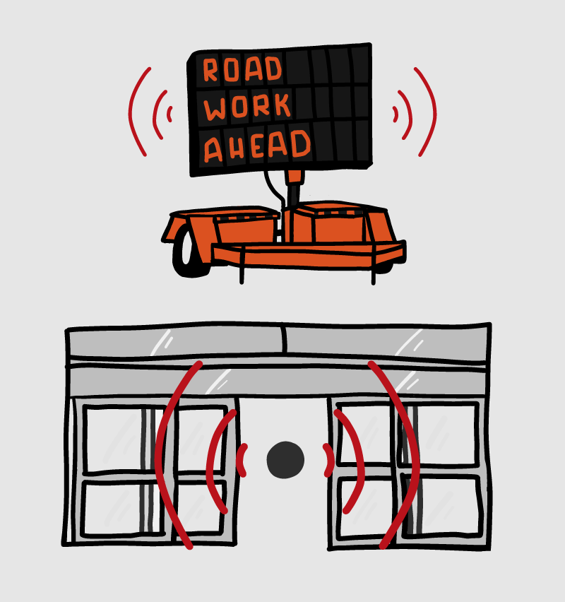 Road Work Ahead + Automatic Sliding doors with motion sensors.