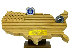 CHALLENGE COIN DISPLAY - USA MAP/FLAG with ENGRAVING