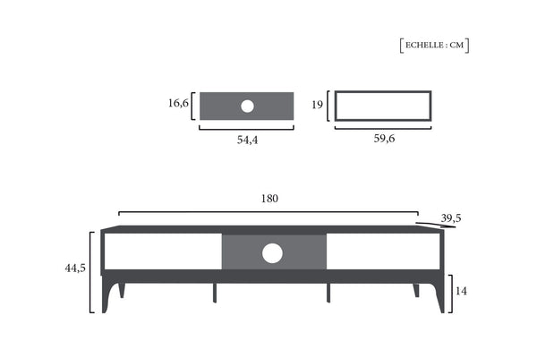 Schéma Technique Console TV Design Nordique Dewarens