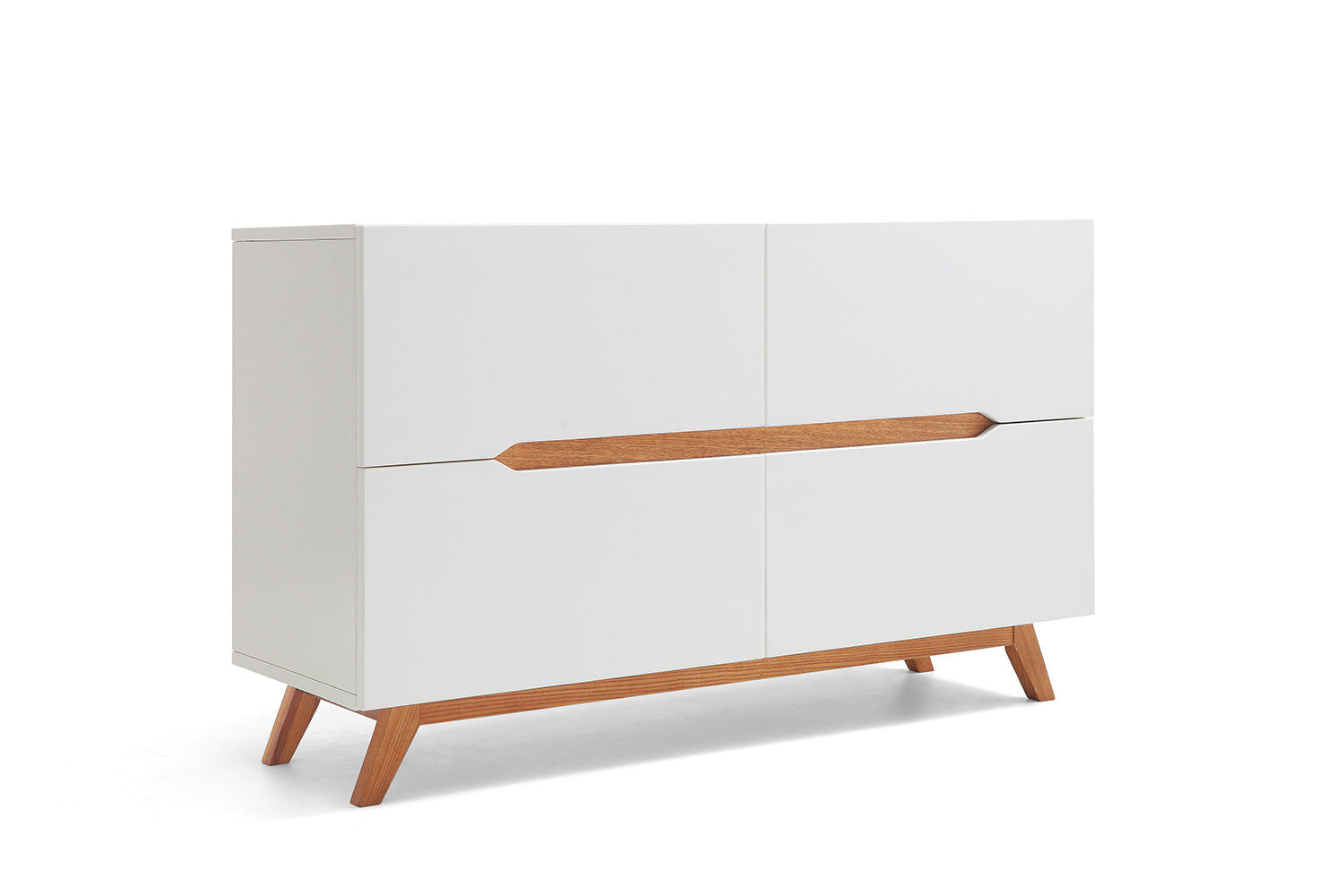 Commode design scandinave blanche et bois albana dewarens - Commode design scandinave ...